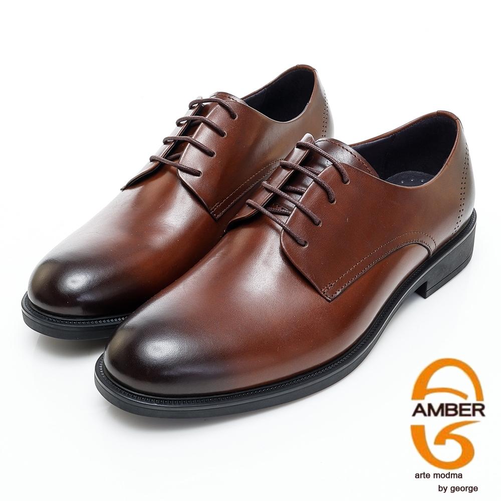 AMBER經典系列漸層素面真皮紳士鞋皮鞋-深棕色