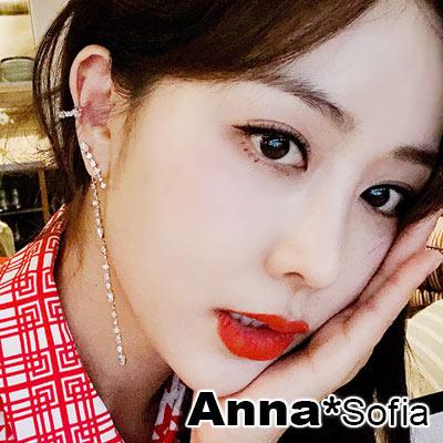【3件5折】AnnaSofia T字型晶大型 不對稱後掛墬925銀針耳針耳環(銀系)