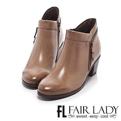 Fair Lady 率性優雅拉鍊粗跟短靴 灰