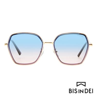 BIS IN DEI 金屬多角形框太陽眼鏡-藍