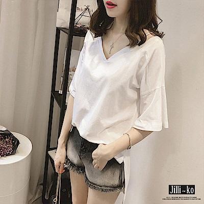 Jilli-ko 韓版V領吊帶造型上衣- 白/綠