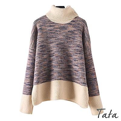 高領多彩混色針織上衣 共二色 TATA