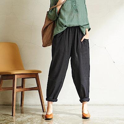 慢 生活 雙口袋棉麻蘿蔔褲-F 黑色/灰色/卡其色