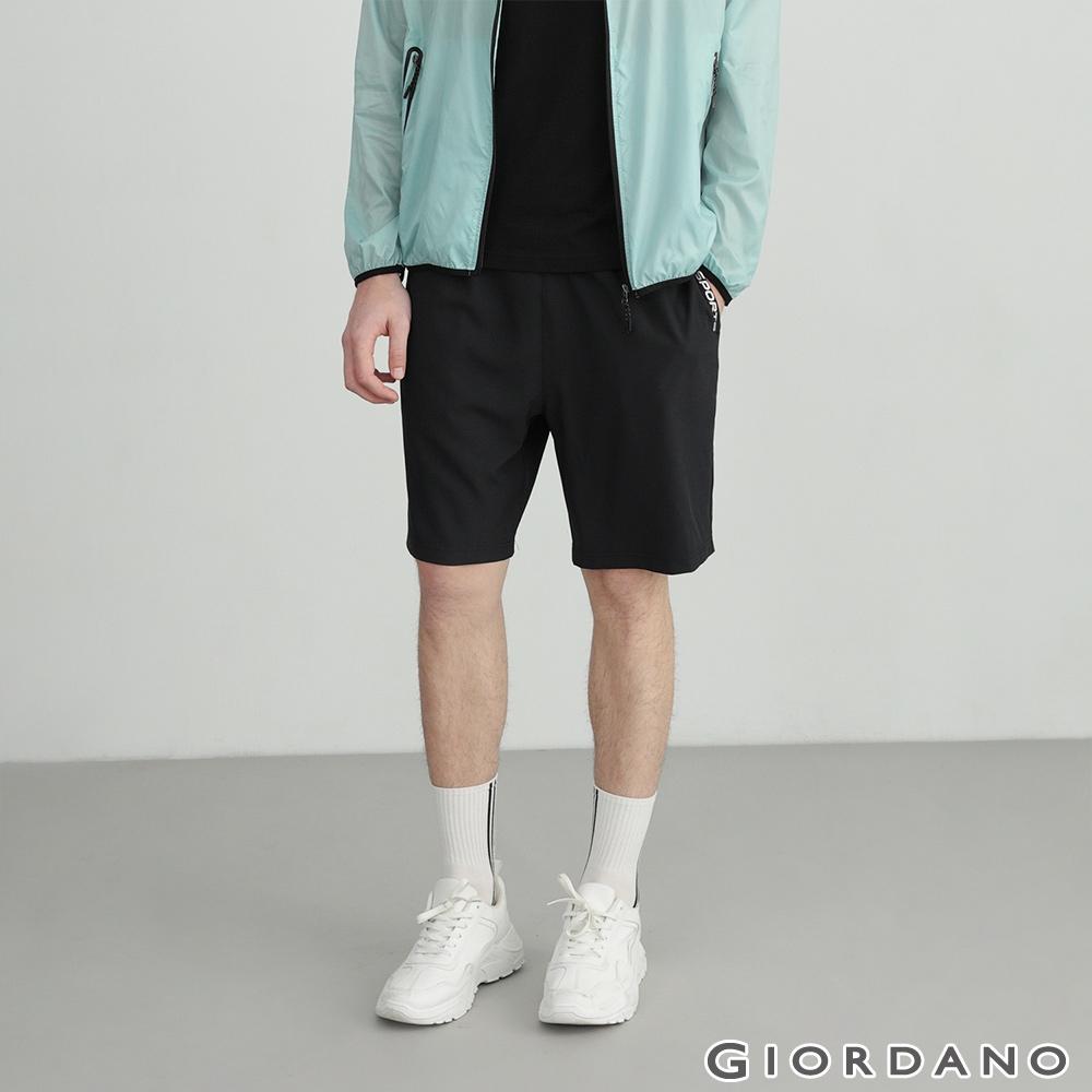 GIORDANO 男裝3M經典素色運動短褲 - 09 標誌黑