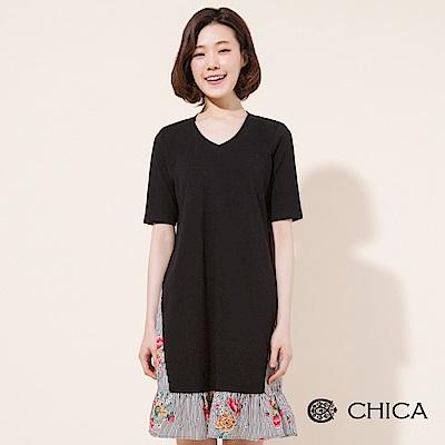 CHICA 春日時光拼接印花荷葉襬洋裝(1色)