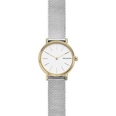 SKAGEN 北歐優雅時尚石英女錶-銀x金框/30mm