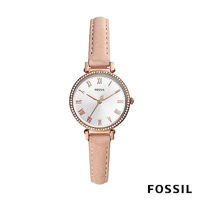 FOSSIL KINSEY 粉色鑲鑽皮革女錶 28mm ES4445