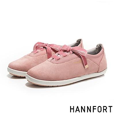 HANNFORT CALIFORNIA法式絲絨蝴蝶結休閒鞋-女-紅莓粉