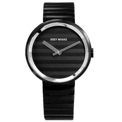 ISSEY MIYAKE 三宅一生 PLEASE 時裝百摺防水不鏽鋼手錶-鍍黑/40mm
