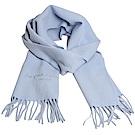 Aquascutum 高質感100%羊毛經典品牌字母LOGO刺繡圍巾(水藍)