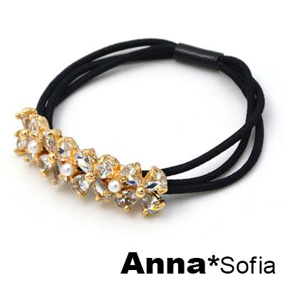 AnnaSofia 環圈晶四葉草 純手工彈性髮束髮圈髮繩(金底系)