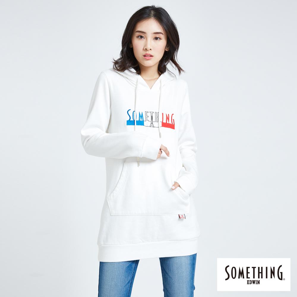 SOMETHING 青春高校 基本LOGO長版連帽T恤-女-白色