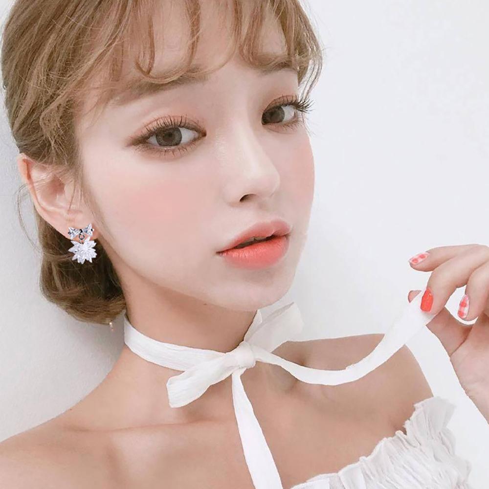 梨花HaNA  無耳洞韓國冰晶雪花小巧蝴蝶結耳環