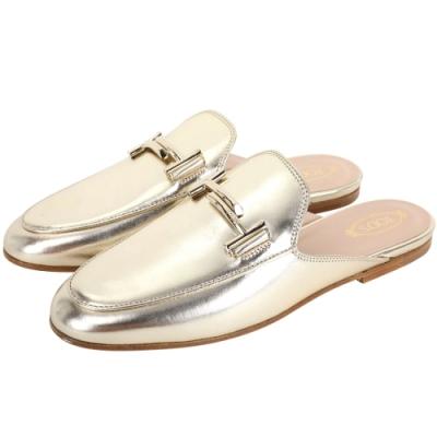 TOD'S Double T 金屬設計牛皮穆勒鞋(女鞋/香檳色)