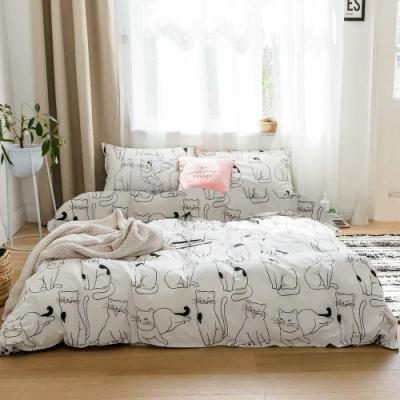 A-ONE 磨毛H系列-雪紡棉磨毛加工處理-加大床包兩用被組-貓星人