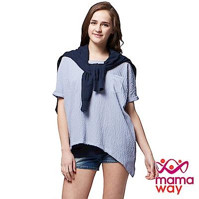 孕婦裝 哺乳衣 輕爽斜剪接真兩件上衣(共二色) Mamaway