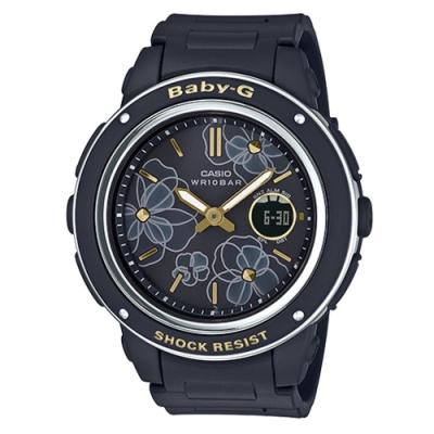 BABY-G-花仙子迷人大錶面設計休閒錶-黑(BGA-150FL-1A)/47.5mm