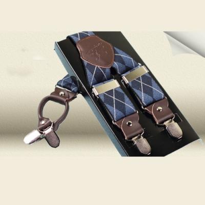 Laifuu拉福,吊帶四夾紳士吊帶附紙盒(藍格紋)