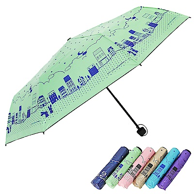 【雙龍牌】浪漫滿屋 黑膠三折傘晴雨傘/防曬抗UV防風陽傘 B6153H