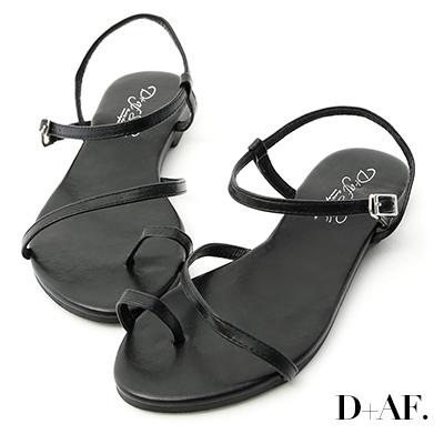 D+AF 盛夏百搭.套指斜帶繞踝平底涼鞋*黑