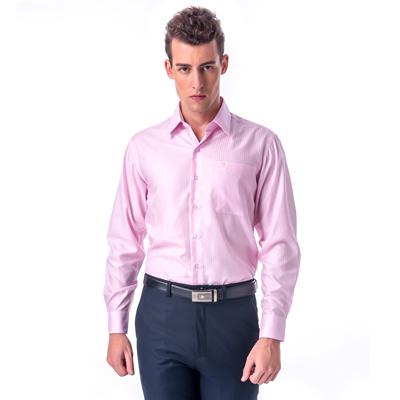 【金安德森】 粉紅色易整燙窄版長袖襯衫fast