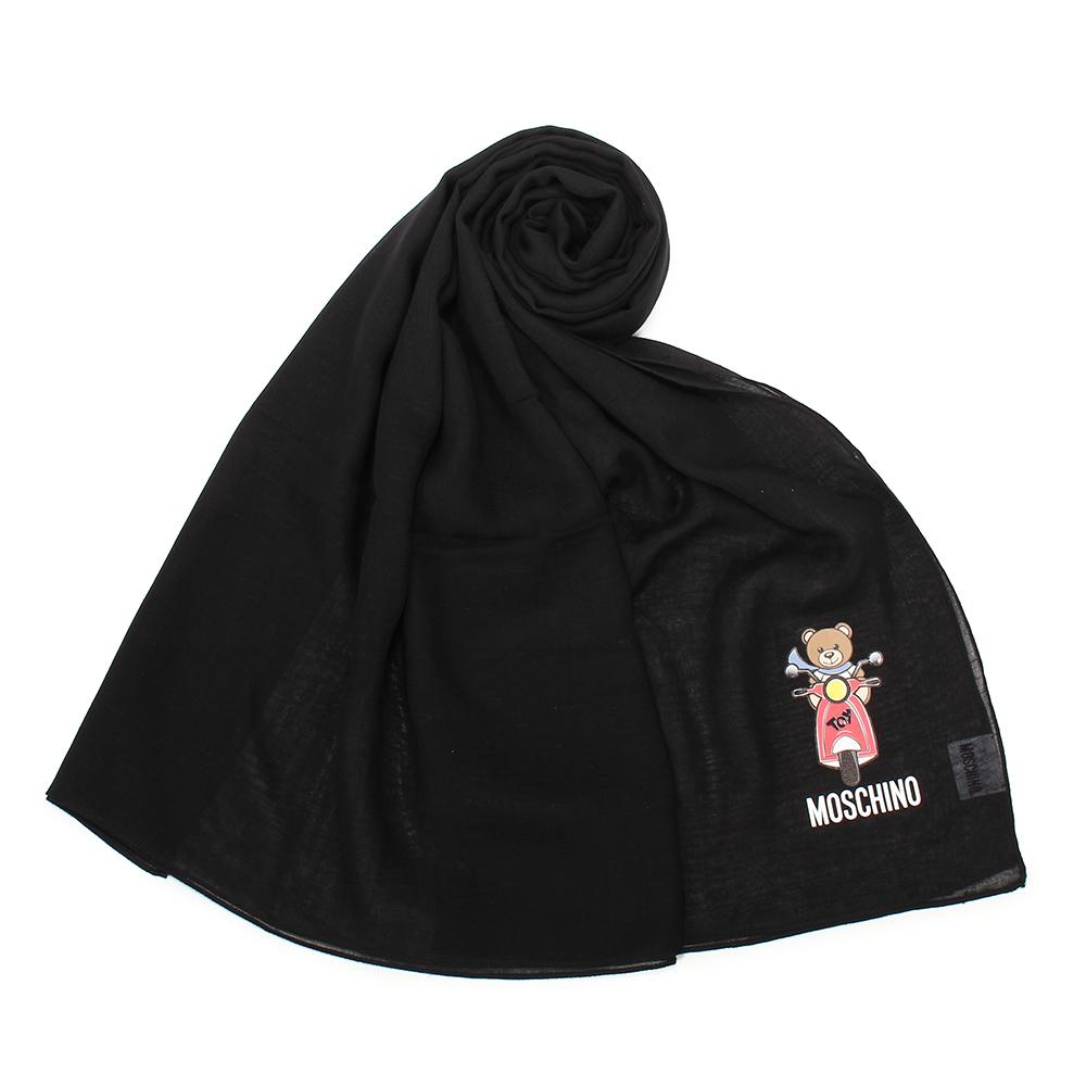 MOSCHINO 經典TOY小熊棉麻混絲薄圍巾-黑色