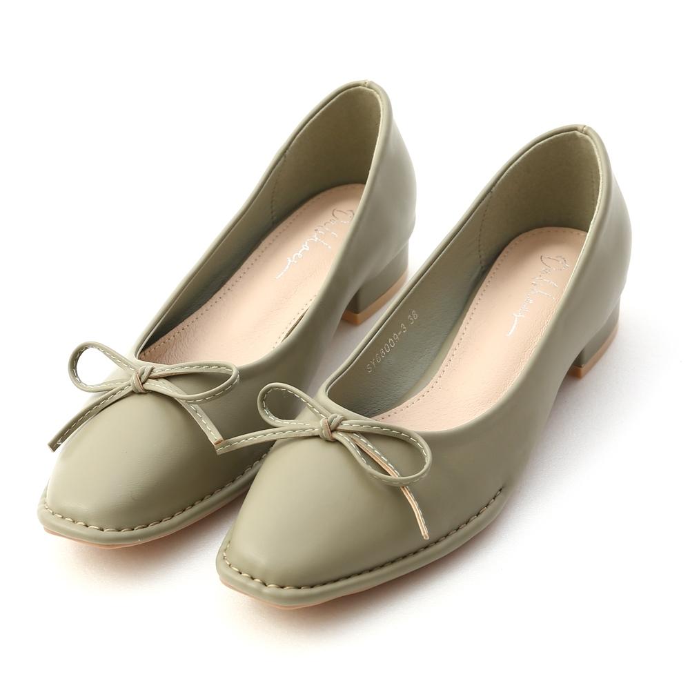 D+AF 甜美氣息.獨特車線芭蕾娃娃鞋*綠