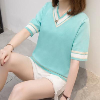 2F韓衣-簡約氣質條紋造型上衣-2色-認(XL-3L)