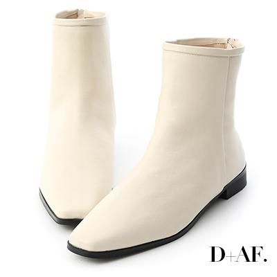 D+AF 風格簡約.素面小方頭後拉鍊短靴*米白
