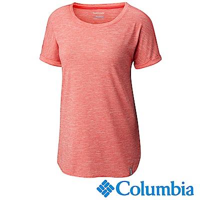 Columbia哥倫比亞 女款-快排短袖上衣-粉紅 UAK19560PK
