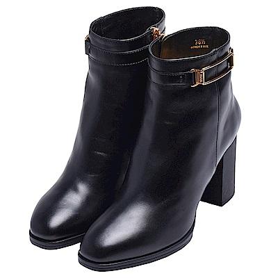 TOD-s 經典金屬釦裝飾小牛皮粗跟中筒高跟靴(黑)