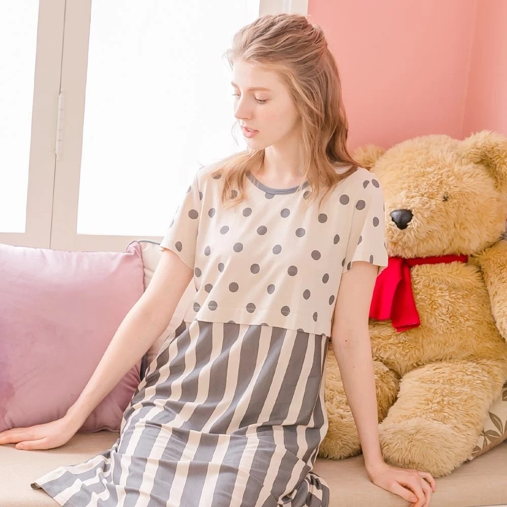 RoseMaid 羅絲美 - 愜意生活無領點點條紋洋裝睡衣 - 奶茶色 (M)