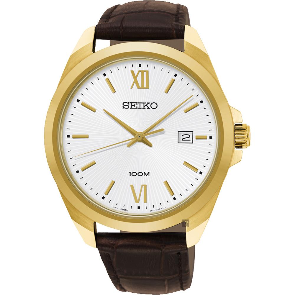 SEIKO 精工 城市時尚石英手錶(SUR284P1)-銀x金框/42mm