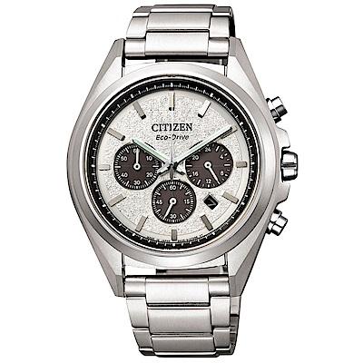 CITIZEN 星辰光動能鈦金三眼計時手錶(CA4390-55A)-銀/41mm
