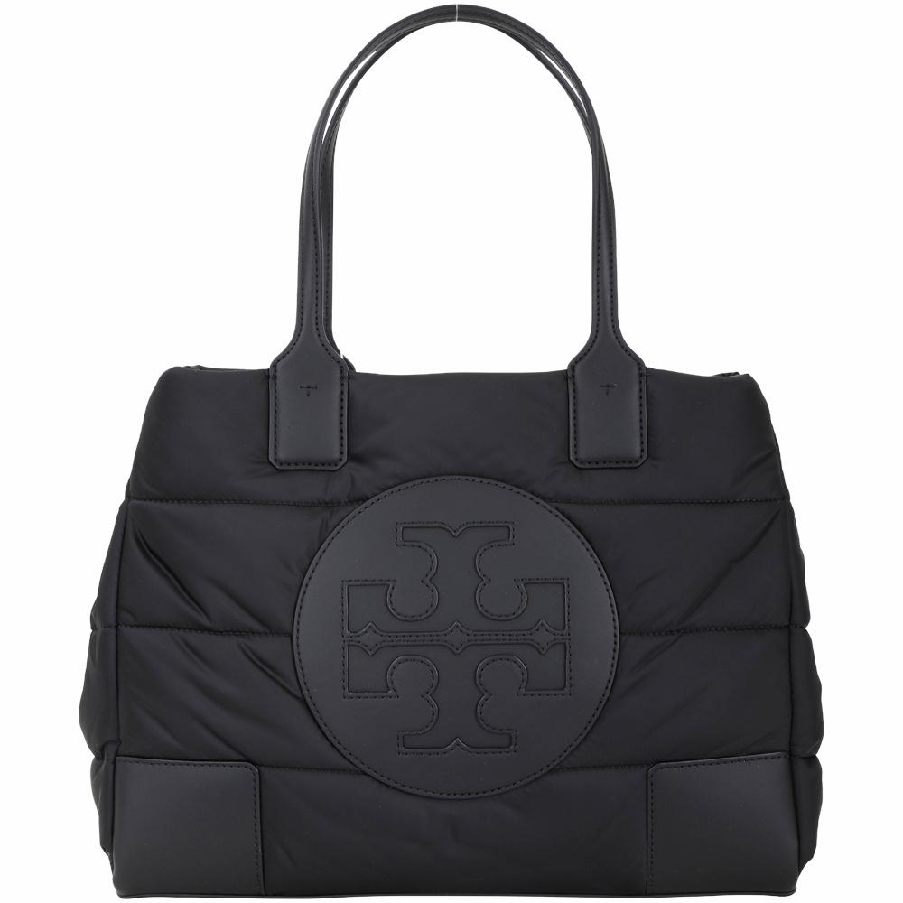 TORY BURCH  Ella Mini Puffer 品牌徽標厚磅空氣尼龍托特包(黑色)