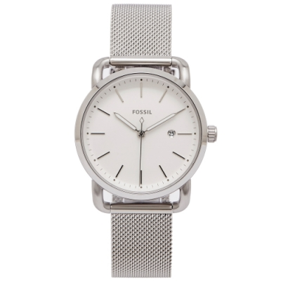 FOSSIL 簡約優雅風的米蘭帶手錶(ES4331)-白色面X銀色/34mm