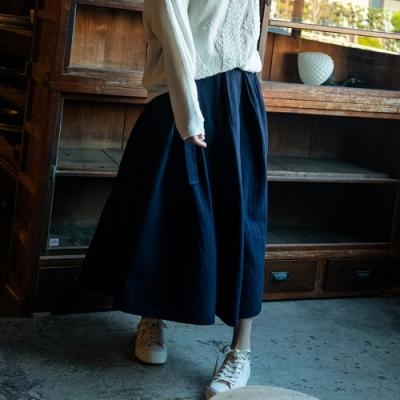 旅途原品_惜時_日本精梳棉A擺裙- 藏青色