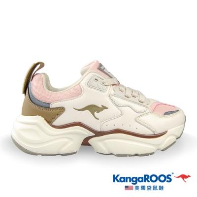 KangaROOS 女 SWING 復古籃球老爹鞋(白/粉/棕-KW01189)