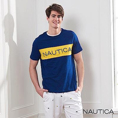 Nautica 撞色拼接LOGO短袖T恤-藍