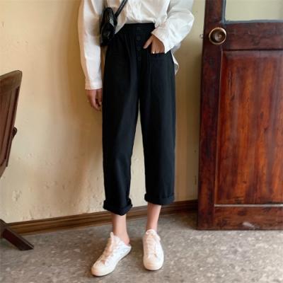 La Belleza高腰鬆緊腰四釦前雙口袋百搭休閒背後口袋哈倫褲