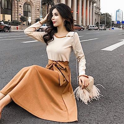 DABI 韓系拼色針織系帶長裙長袖洋裝