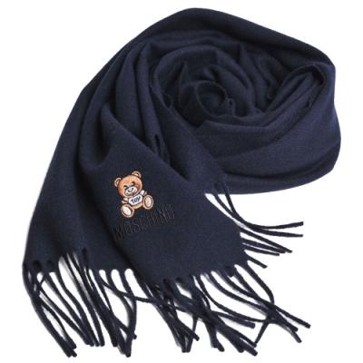 [時時樂限定] MOSCHINO 義大利製美麗諾羊毛小熊圖騰刺繡圍巾(3色)