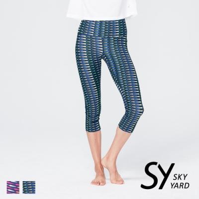 【SKY YARD 天空花園】輕度機能緊身運動褲-七分褲-幾何綠