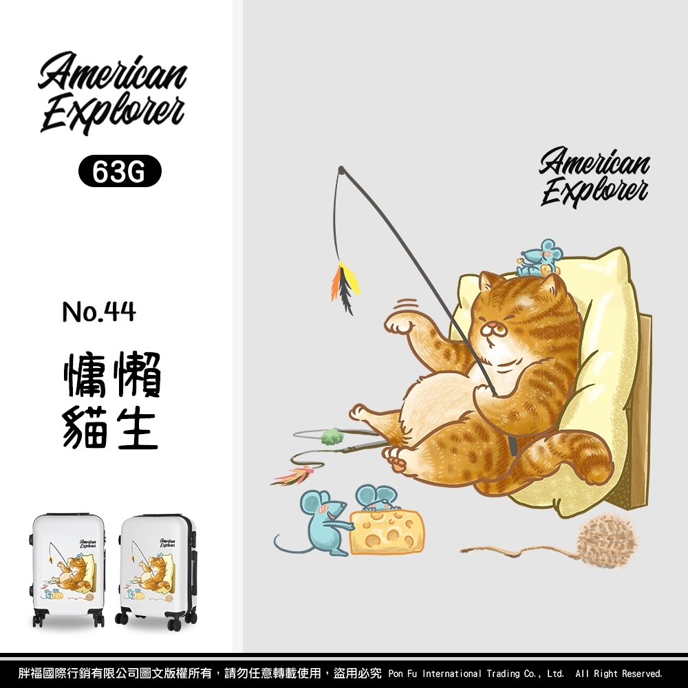 American Explorer 美國探險家 20吋 登機箱 行李箱 YKK拉鍊 卡通箱 橘貓 63G (慵懶貓生)