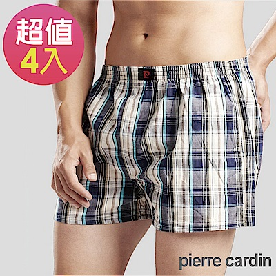 Pierre Cardin 皮爾卡登 精梳棉色織五片式平口褲(4件組)