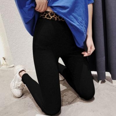 La Belleza豹紋腰頭拼接鬆緊腰坑條彈性內搭褲