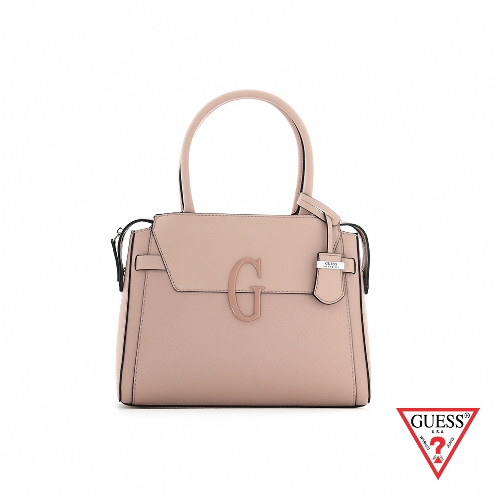 GUESS-女包-多層次拼接設計字母手提包-粉 原價3690