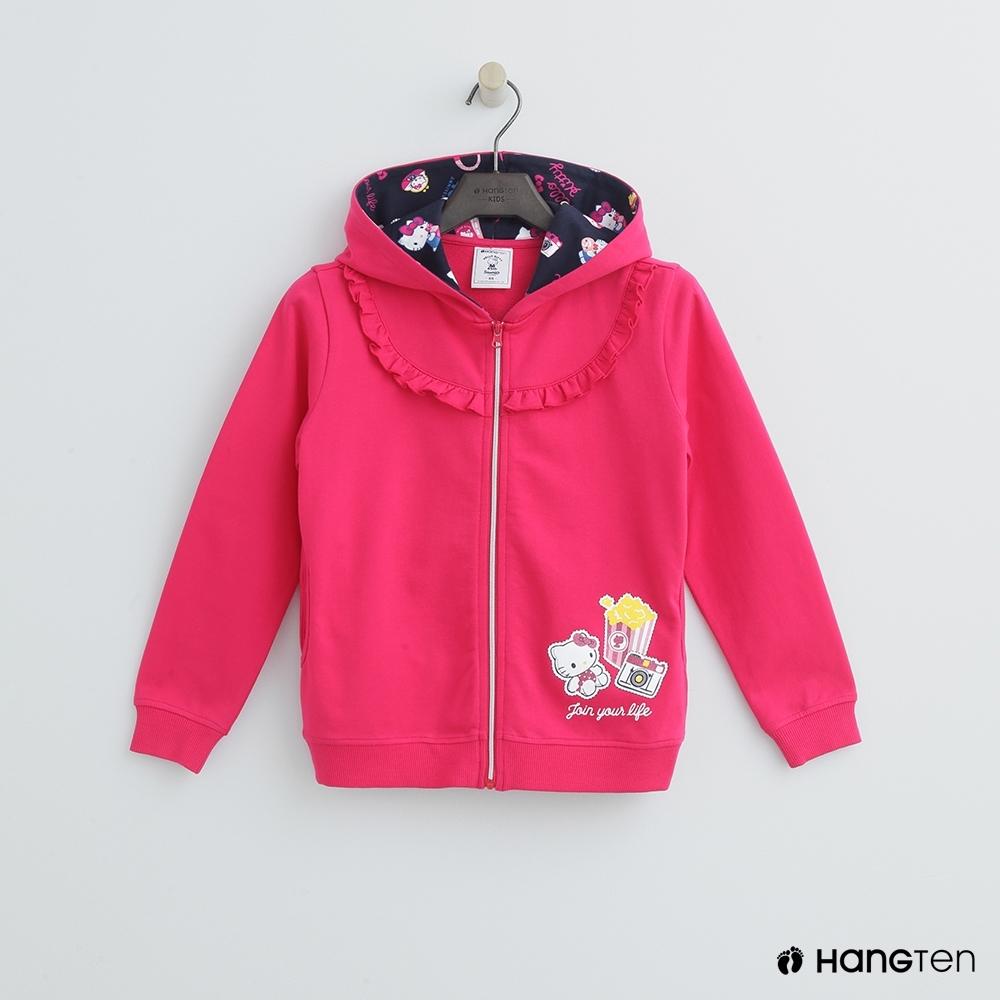 Hang Ten -童裝 - Sanrio-皺褶小logo連帽外套 - 桃紅