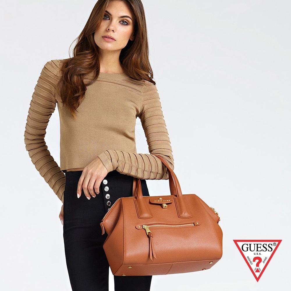 GUESS-女包-簡約時尚大手提包-咖