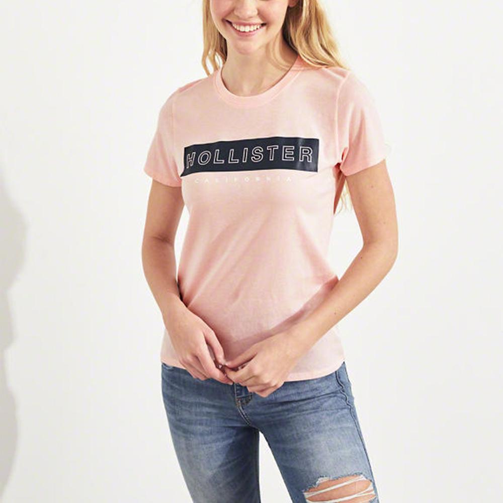 海鷗 Hollister 經典海歐印刷短袖T恤(女)-粉色